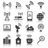 Wireless communication network business black icons set of wifi signal search cell tower and transmitter antenna isolated vector illustration poster