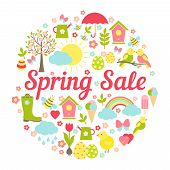 Decorative circular Spring Sale Sign with a busy vector design depicting symbolic Springtime favourites  Easter and the weather in fresh pastel colors for business marketing and advertising  on white poster