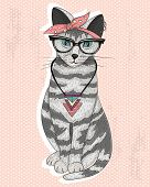 Cute hipster rockabilly cat with head scarf glasses and necklace poster