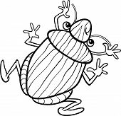 Black and White Cartoon Illustration of Funny Shield Bug Insect Character for Coloring Book poster