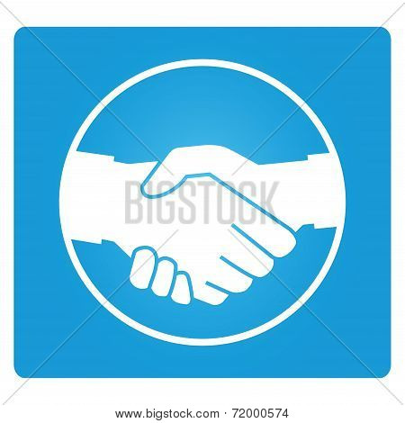 handshake symbol in blue square button, corporation concept vector poster