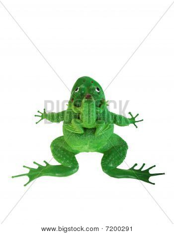 Plastic green frog toy isolated on white background poster