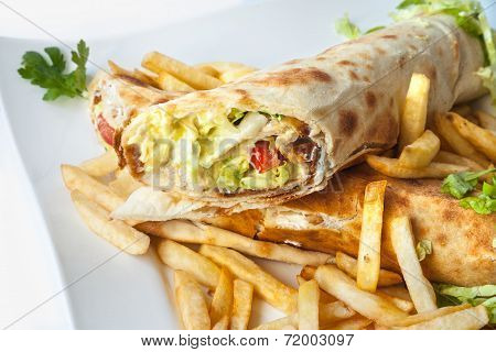 Rolled Meat With French Fries