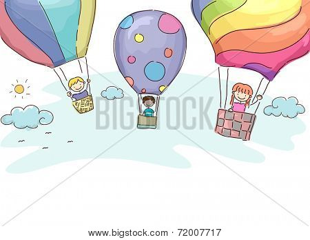 Illustration Featuring Kids Riding Hot Air Balloons