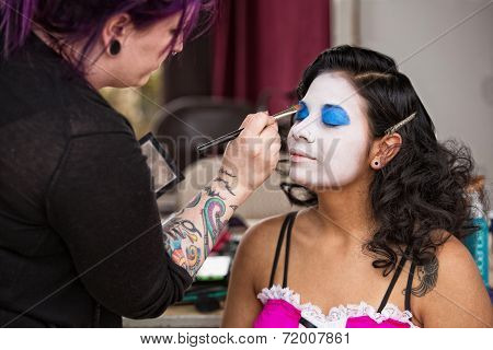 Pretty Clown Getting Eye Shadow