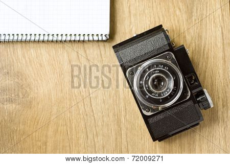 Old Camera And Notepad