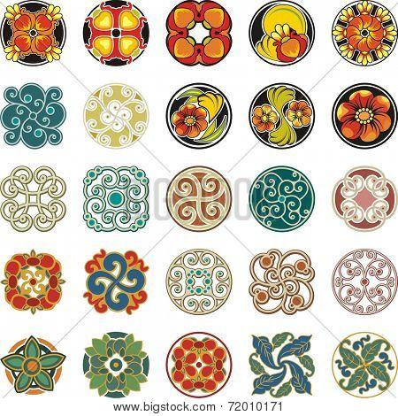 Vector set of floral ornamental circle designs in vintage style.Floral Ornamental Circle Designs Set