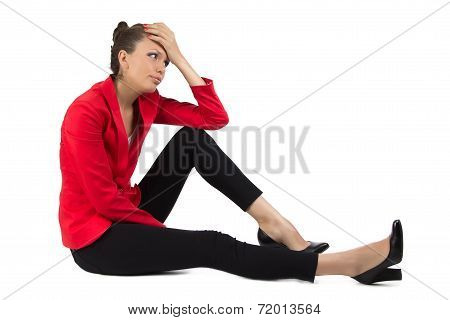 Thinking businesswoman on white background
