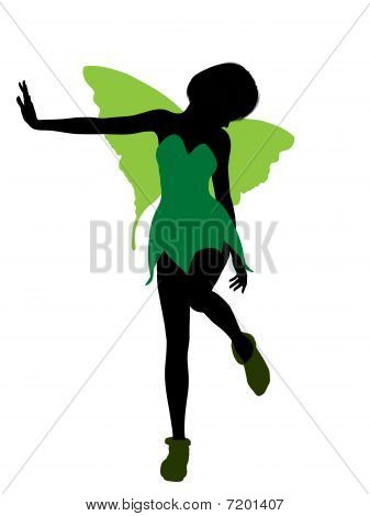 Tinker Bell illustration silhouette on a white background poster