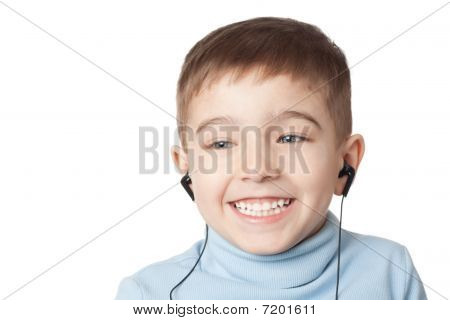 Smiling Boy In Earphones