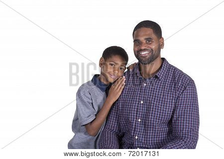 Father and son bonding isolated on a white background