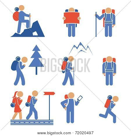 Set of colored vector hiking icons showing a mountaineer  backpacker  hiker  nordic walker  forest  mountain  frontal and side views poster