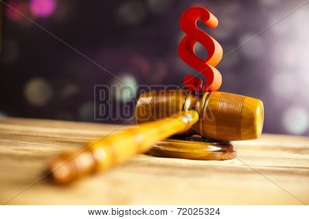 Paragraph, law and justice concept, wooden gavel