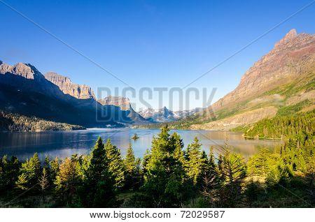 Scenic View Of Mountain Range In Glacier Np, Montana