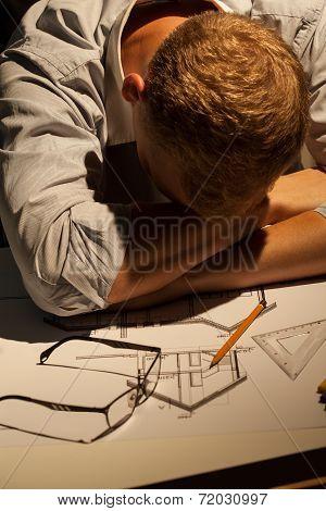 Architect Sleeping At Work