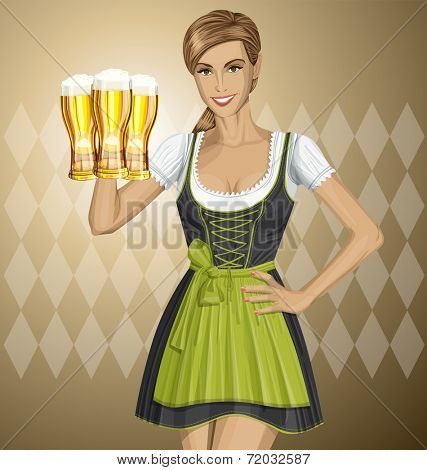 Vector cute woman in drindl on oktoberfest with beer