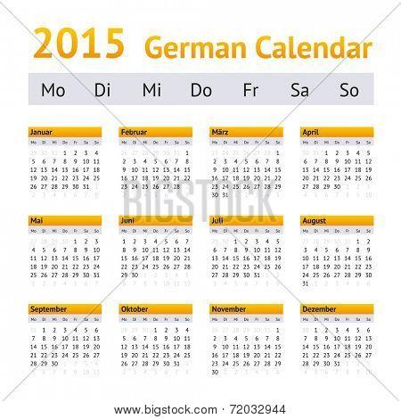 2015 German Calendar. Week starting on Monday