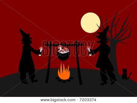 Witches preparing magical nostrum