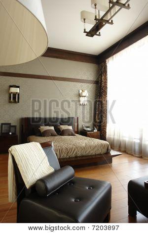 bedroom with wide window