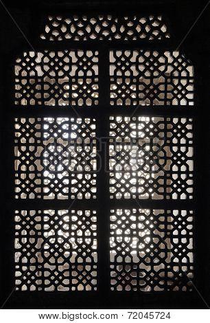 ornament lattice window in rajasthan india