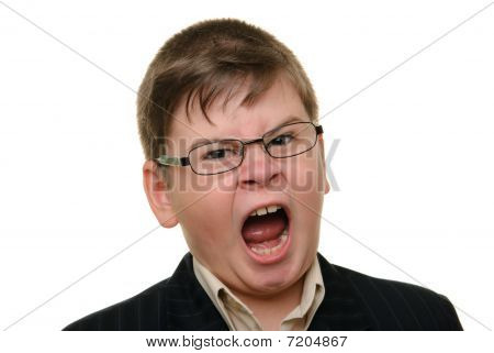 Shouting Boy In Glasses