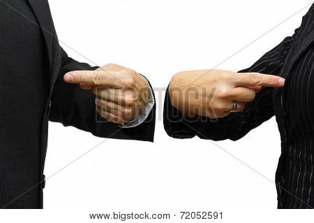 Man And Woman  Pointing To Itself. Rivalry & Competition Concept