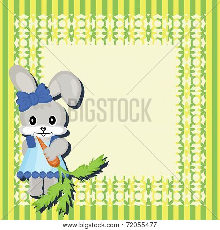 decor scrapbook frame with nice hare vector illustration poster