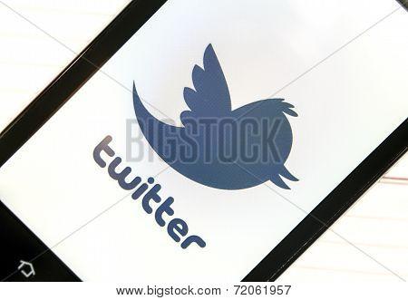 Belgrade - February 06, 2014 Logo Of Popular Social Media Website Twitter On Smart Phone Screen