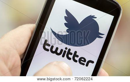 Belgrade - May 03, 2014 Logo Of Popular Social Media Website Twitter On Smart Phone Screen