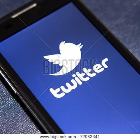 Belgrade - February 02, 2014 Logo Of Popular Social Media Website Twitter On Smart Phone Screen