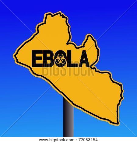 Danger Ebola biohazard Liberia map sign on blue illustration