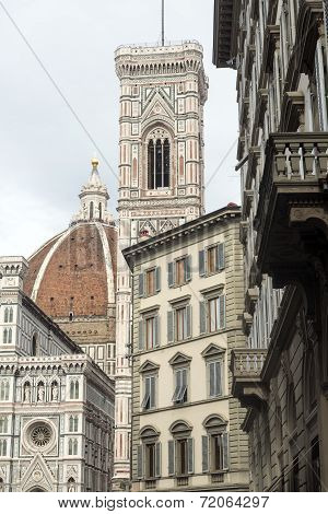 Florence (Firenze Tuscany Italy): the medieval cathedral with the Brunelleschi's dome and the Giotto's belfry poster