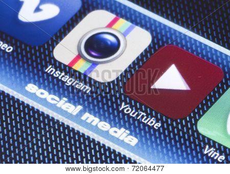 Belgrade - July 11, 2014 Popular Social Media Icons On Smartphone Screen