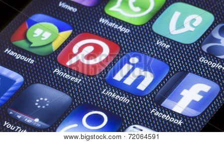 Belgrade - July 05, 2014 Popular Social Media Icons Linkedin Pinterest And Other On Smartphone