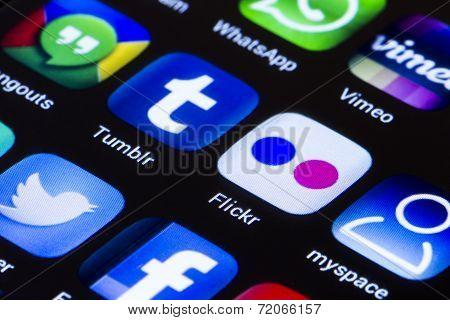 Belgrade - June 23, 2014 Popular Social Media Icons On Smartphone Screen