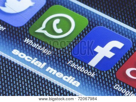 Belgrade - July 11, 2014 Popular Social Media Icons Whatsapp Facebook And Other On Smart Phone Scree