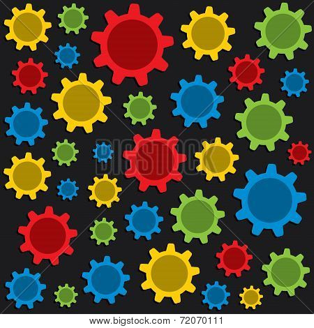 colorful gear pattern background vector