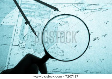 Surveyor's Plan, Circle And Loupe With Backlight