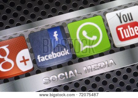 Belgrade - August 30, 2014 Social Media Icons Whatsapp, Facebook And Other On Smart Phone Screen Clo