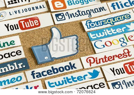 Belgrade - June 17, 2014 Social Media Website Logos Facebook, Twitter And Other With Like Logo Print