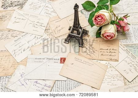 Roses, Antique French Postcards And Eiffel Tower Paris