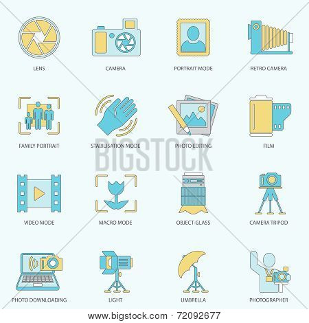 Photography icons flat line