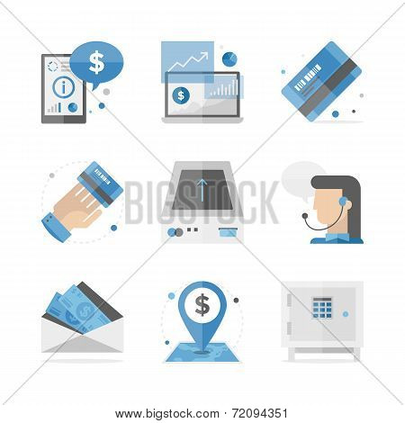 Financial And Banking Flat Icons Set