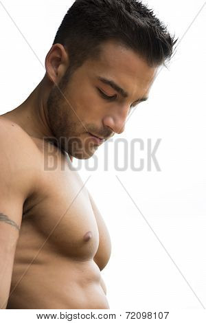 Handsome Shirtless Man Portrait Looking Down