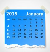 Calendar january 2015 colorful torn paper. Vector illustration poster