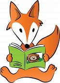 vector cartoon drawing Fox reading story book poster