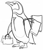 Antarctic emperor cartoon penguin with bags goes to the store to shop. Contours. Vector poster