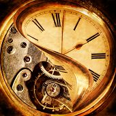 Face of an antique pocket watch being peeled back to reveal the cogs beneath poster