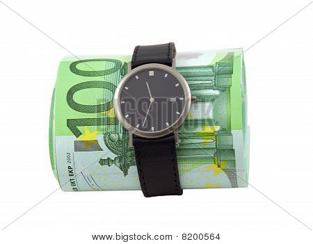 Time Is Money Concept. Watch And 100 Euro Bills, Over White.