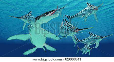 Liopleurodon Attacks Eurhinosaurus